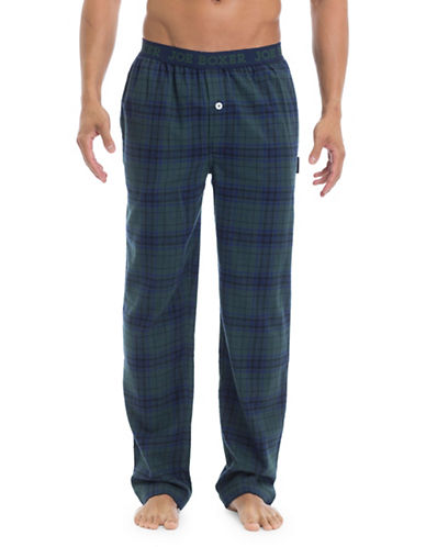 Joe Boxer Plaid Straight Pants-GREEN-X-Large