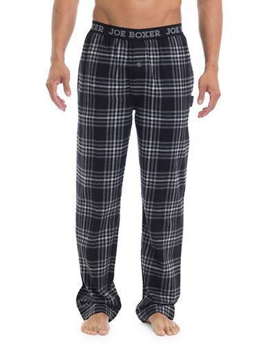 Joe Boxer Plaid Straight Pants-BLACK-Small
