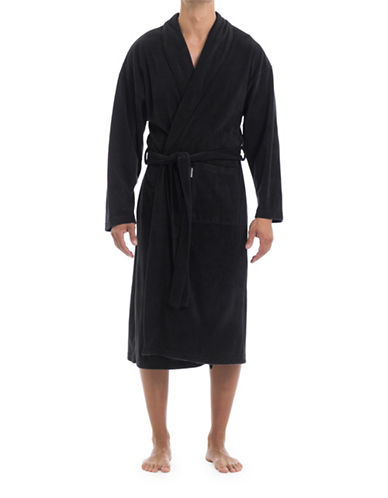 Joe Boxer Microfleece Robe-BLACK-Large/X-Large