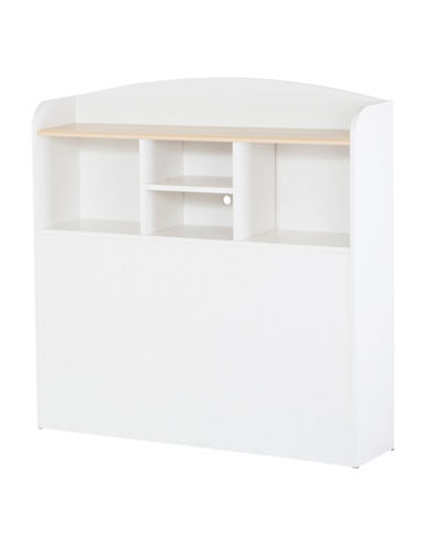 South Shore Summertime Twin Bookcase Headboard-PURE WHITE-Twin