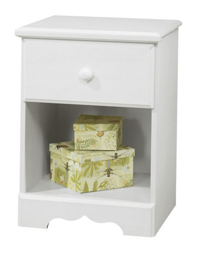 South Shore Summer Breeze One-Drawer Nightstand-WHITE WASH-One Size