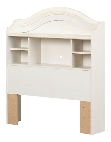 South Shore Summer Breeze Twin Bookcase Headboard-WHITE WASH-Twin