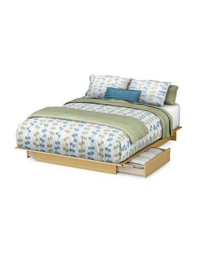 South Shore Step One Queen Platform Bed-NATURAL MAPLE-Double/Queen