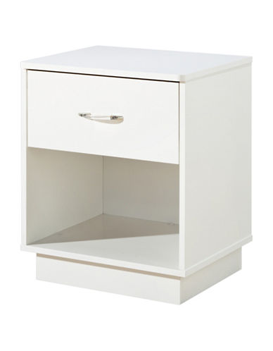 South Shore Logik One-Drawer Nightstand-PURE WHITE-One Size