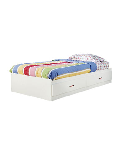 South Shore Logik Twin Mates Bed with Two Drawers-PURE WHITE-Twin