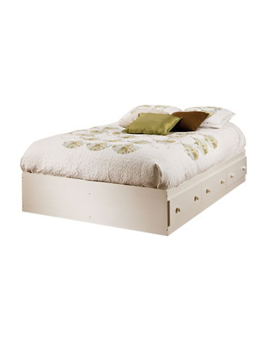 South Shore Summer Breeze Full Mates Bed with Three Drawers-WHITE WASH-Full