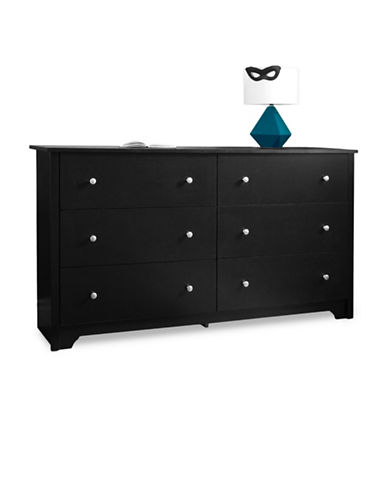 South Shore Vito Six-Drawer Double Dresser-PURE BLACK-One Size