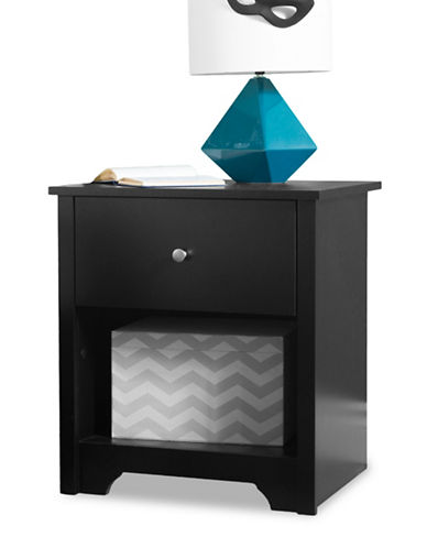 South Shore Vito One-Drawer Nightstand-PURE BLACK-One Size
