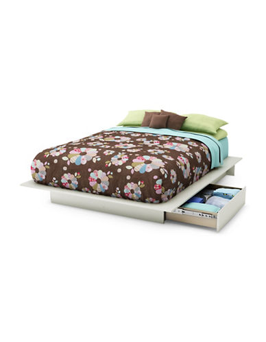 South Shore Step One Queen Platform Bed-PURE WHITE-Double/Queen