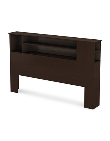 South Shore Vito Full/Queen Bookcase Headboard-CHOCOLATE-Double/Queen
