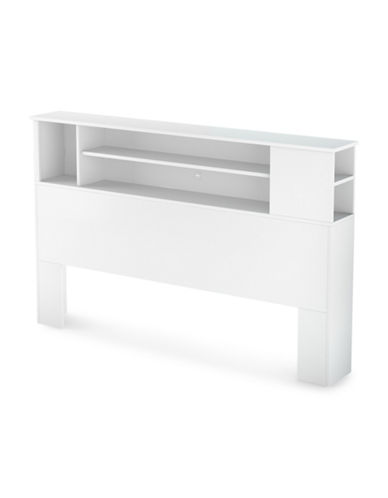 South Shore Vito Full/Queen Bookcase Headboard-PURE WHITE-Double/Queen