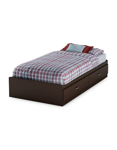 South Shore Logik Twin Mates Bed with Two Drawers-CHOCOLATE-Twin