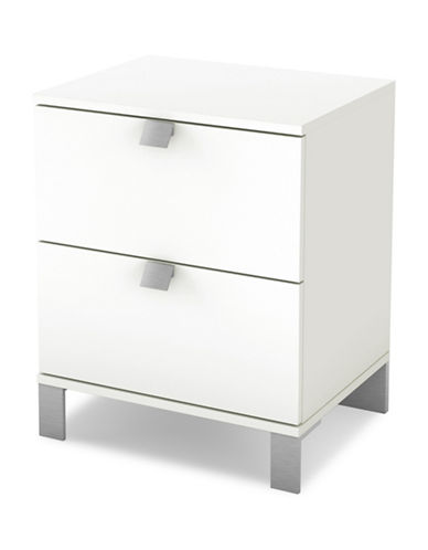 South Shore Spark Two Drawer Nightstand-PURE WHITE-One Size