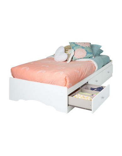 South Shore Tiara Twin Mates Bed with Three Drawers-PURE WHITE-Twin