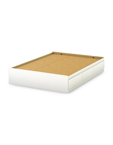 South Shore Step One Full Mates Bed with Three Drawers-PURE WHITE-Full