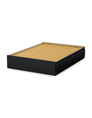 South Shore Step One Full Mates Bed with Three Drawers-PURE BLACK-Full