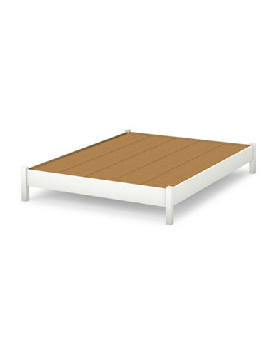 South Shore Step One Queen Platform Bed-PURE WHITE-Queen
