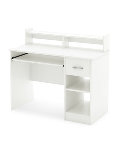 South Shore Axess Small Desk with Keyboard Tray-PURE WHITE-One Size