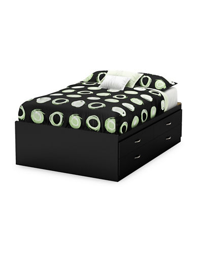 South Shore Step One Full Captain Bed with Four Drawers-PURE BLACK-Full