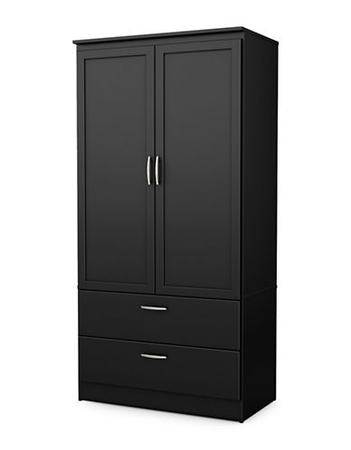 South Shore Acapella Wardrobe Armoire-PURE BLACK-One Size