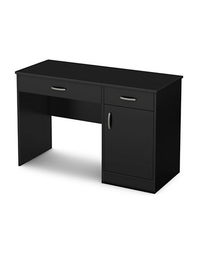 South Shore Axess Small Desk with Drawers-PURE BLACK-One Size