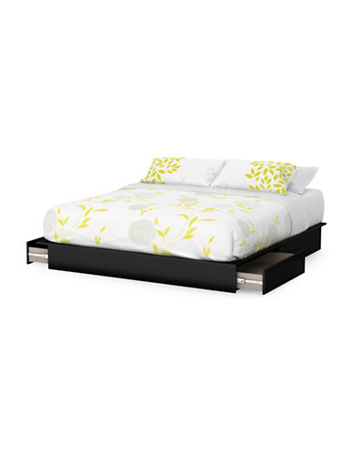 South Shore Step One King Platform Bed with Drawers-PURE BLACK-King