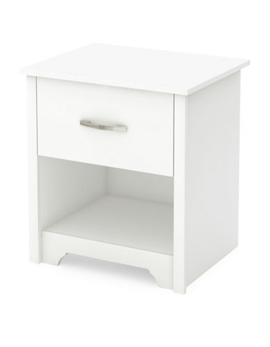 South Shore Fusion One-Drawer Nightstand-PURE WHITE-One Size