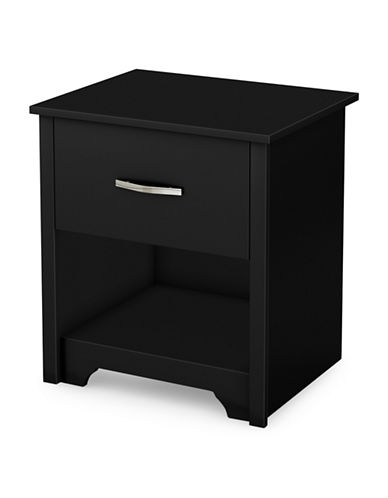 South Shore Fusion One-Drawer Nightstand-PURE BLACK-One Size