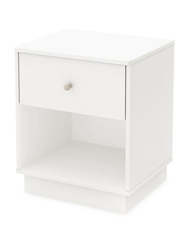 South Shore Litchi One-Drawer Nightstand-PURE WHITE-One Size