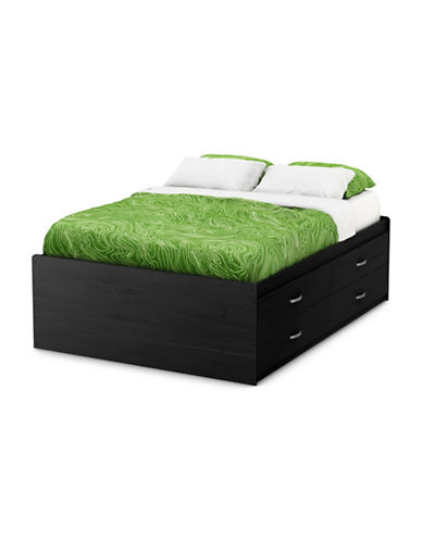 South Shore Laser Full Captain Bed with Four Drawers-BLACK ONYX-Full