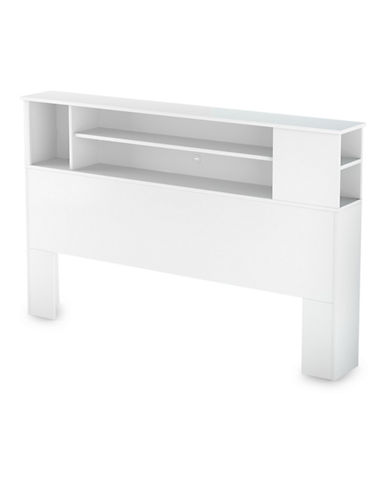 South Shore Fusion Full-Queen Bookcase Headboard-PURE WHITE-Double/Queen