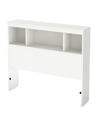 South Shore Litchi Twin Bookcase Headboard-PURE WHITE-Twin