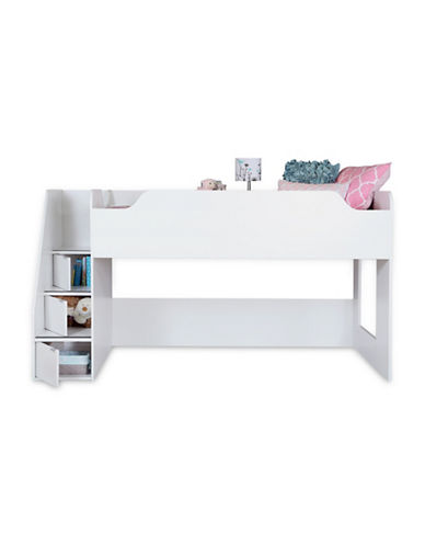 South Shore Mobby Twin Loft Bed with Stairs-PURE WHITE-Twin