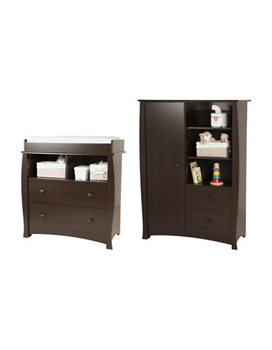 South Shore Beehive Changing Table and Armoire Set-CHOCOLATE-One Size