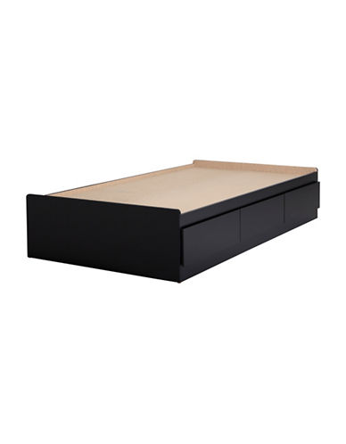 South Shore Vito Twin Mates Bed with Three Drawers-PURE BLACK-Twin