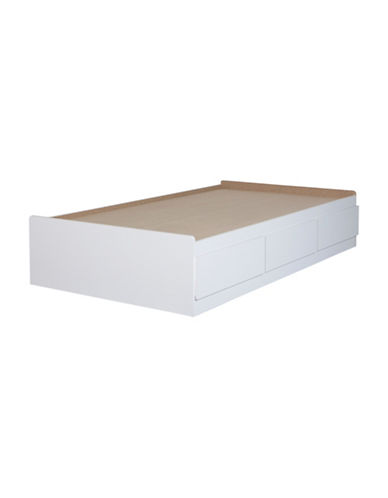 South Shore Vito Twin Mates Bed with Three Drawers-PURE WHITE-Twin