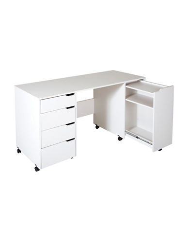 South Shore Crea Sewing Craft Table On Wheels-PURE WHITE-One Size