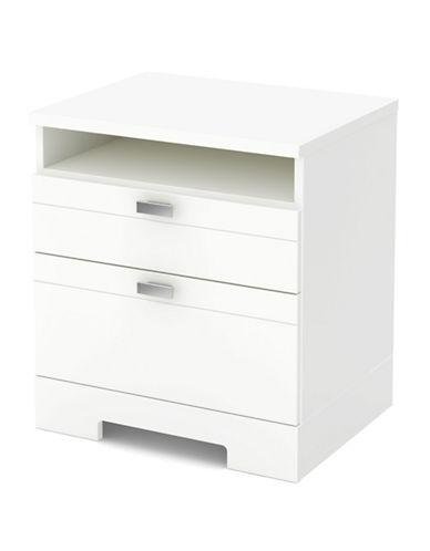 South Shore Reevo Nightstand with Drawers and Cord Catcher-PURE WHITE-One Size