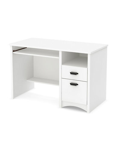 South Shore Gascony Computer Desk with Keyboard Tray-PURE WHITE-One Size