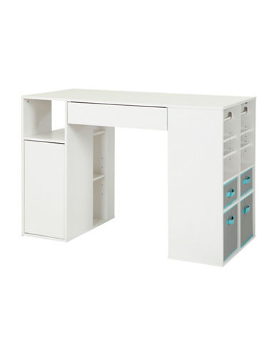 South Shore Crea Counter-Height Craft Table with Storage-PURE WHITE-One Size