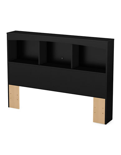 South Shore Step One Full and Queen Bookcase Headboard-PURE BLACK-Full