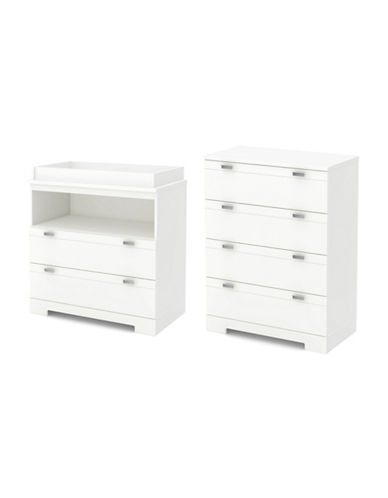South Shore Reevo Changing Table and Four-Drawer Chest Set-PURE WHITE-One Size