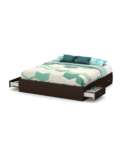 South Shore Step One King Platform Bed with Six Drawers-CHOCOLATE-King
