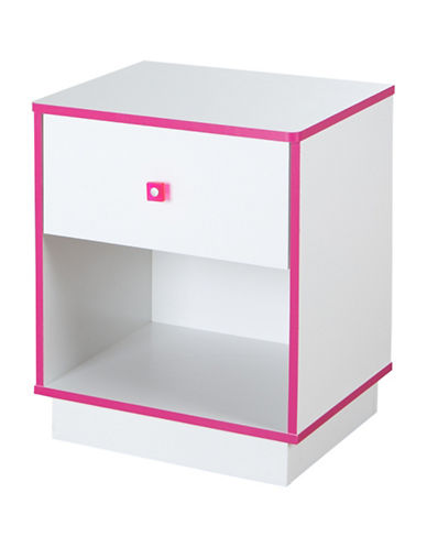 South Shore Logik One-Drawer Nightstand-WHITE/PINK-One Size
