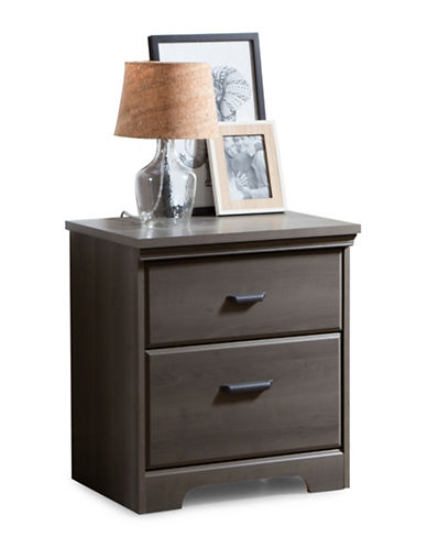 South Shore Versa Two Drawer Nightstand-GREY MAPLE-One Size