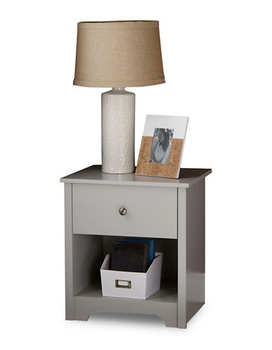 South Shore Vito One-Drawer Nightstand-SOFT GREY-One Size