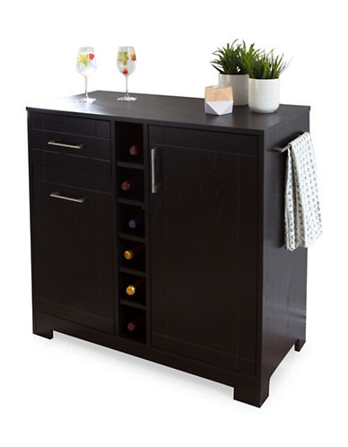 South Shore Vietti Bar Cabinet with Bottle and Glass Storage-BLACK OAK-One Size