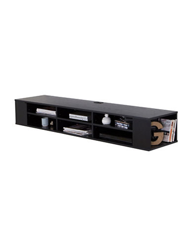South Shore City Life 66-Inch Wide Wall Mounted Media Console-BLACK OAK-One Size