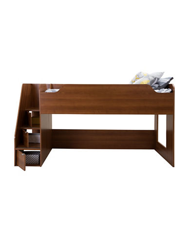 South Shore Mobby Twin Loft Bed with Stairs-MORGAN CHERRY-Twin