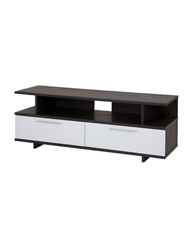 South Shore Reflekt TV Stand with Drawers-WHITE/GREY-One Size